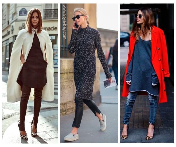 платья с брюками как носить